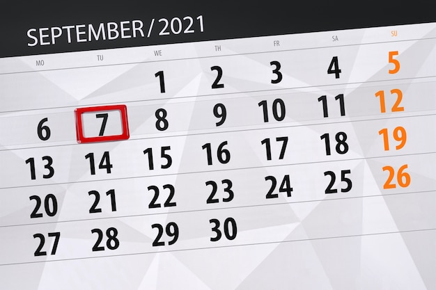 Kalenderplanner voor de maand september 2021, deadline dag, 7, dinsdag.