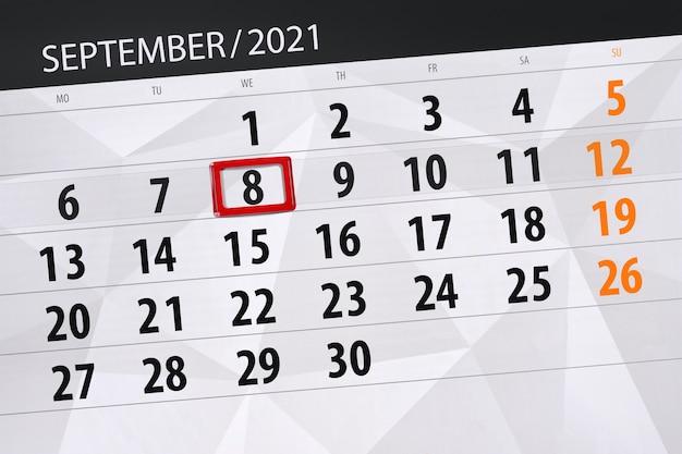 Kalenderplanner voor de maand september 2021, deadline dag, 8, woensdag.