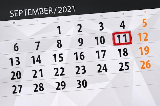Kalenderplanner voor de maand september 2021, deadline day, 11, zaterdag.