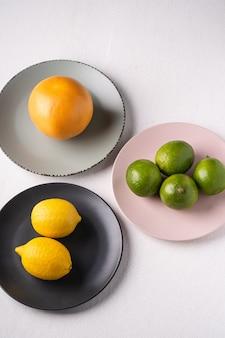 Kalk, citroen, grapefruit in kleurrijke platen op wit