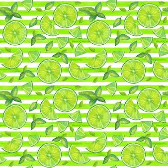 Kalkschijfjes en muntblaadjes naadloos patroon op geelgroene en witte strepenachtergrond