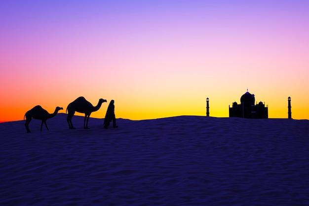 Kamelen in de woestijn bij zonsondergang silhouetten van kamelen en een man die op het zand loopt