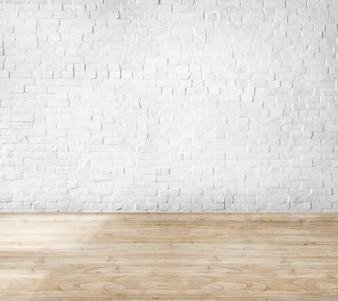 Kamer gemaakt van bakstenen muur en houten vloer
