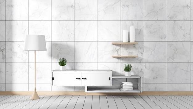 Kamer interieur granieten tegels op wit hout