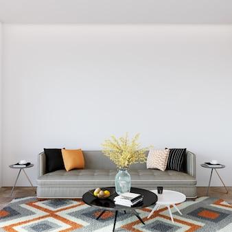 Kamer interieur met sofa en kussens
