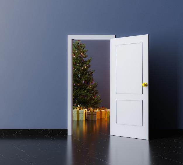 Kamer met open deur en kerstboom met geschenken binnen. 3d-rendering