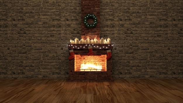 Kamer met open haard met groep brandende kaarsen