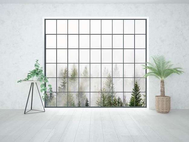 Kamer met zolderraam en kleine kamerplanten