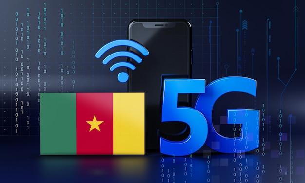 Kameroen klaar voor 5g-verbindingsconcept. 3d-rendering smartphone technische achtergrond