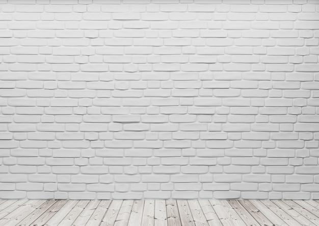 Kamerperspectief, witte baksteen aan de muur en houten vloer, mockupsjabloon voor productweergave. 3d render.
