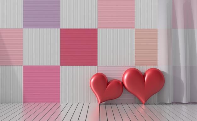 Kamers van liefde op valentijnsdag. 3d render. twee rood hart op verscheidenheidskleur.
