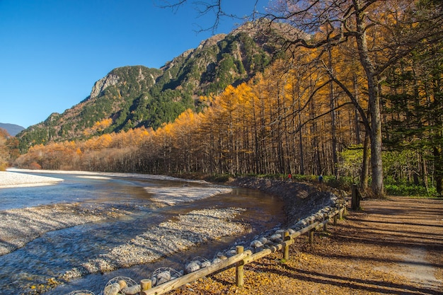 Kamikochi nationaal park in de herfst herfst seizoen