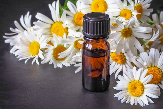 Kamille olie fles met bloemen op zwarte tafel.