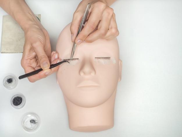Kammen van de wimpers. werk aan het kleuren van wimpers op een mannequin. wimper extensions trainen.