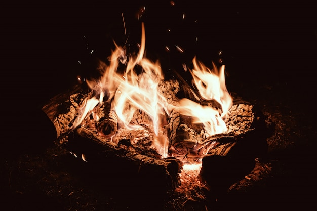 Kampvuuravond. kampvuur in het nachtelijke toeristenkamp