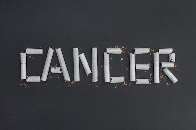 Kanker is een inscriptie woord gemaakt van kapotte sigaretten om de schade van roken te visualiseren. tegen roken - tegen kanker.