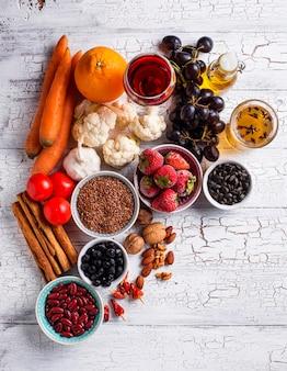 Kankerbestrijdingsproducten. voedsel voor gezond