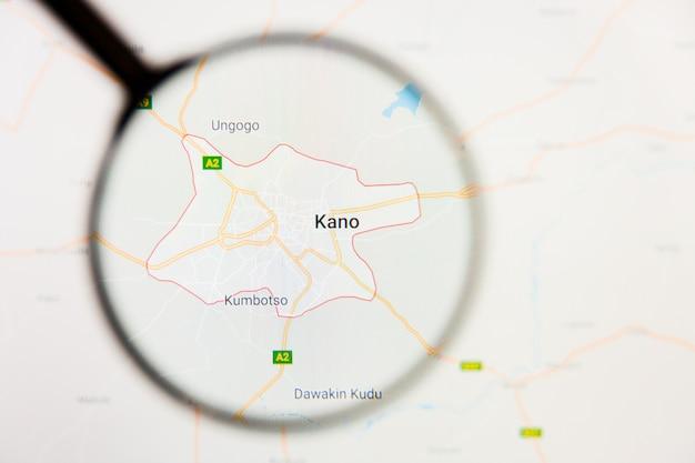 Kano, nigeria stad visualisatie illustratief concept op het beeldscherm door vergrootglas