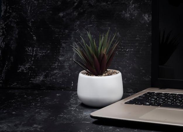 Kantoor aan huis desktop laptop toetsenbord indoor bloem op tafel. het concept van werken op afstand ...