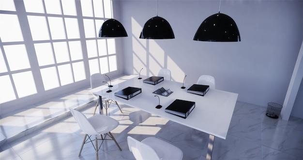 Kantoorbusiness - mooie boardroom vergaderzaal en vergadertafel, moderne stijl. 3d-rendering