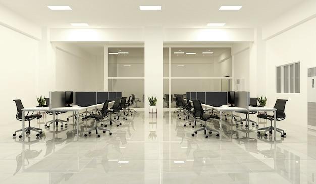 Kantoorbusiness - mooie grote kamer kantoorruimte en vergadertafel, moderne stijl. 3d re