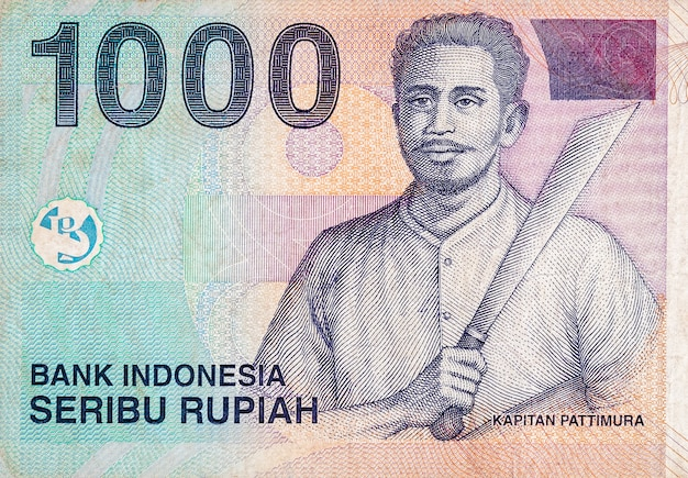 Kapitan pattimura portret op indonesië 1000 rupiah bankbiljet, voormalige munteenheid van indonesië