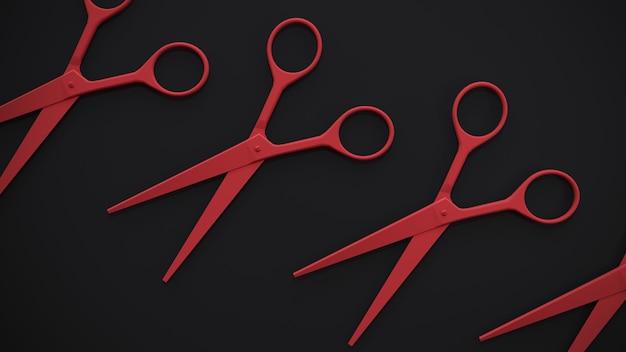 Kapper rode schaar op een zwarte muur. 3d-weergave. accessoires voor kapperszaken
