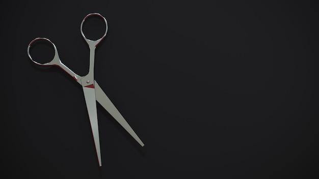 Kapper schaar op een zwarte muur. 3d-weergave. accessoires voor kapperszaken