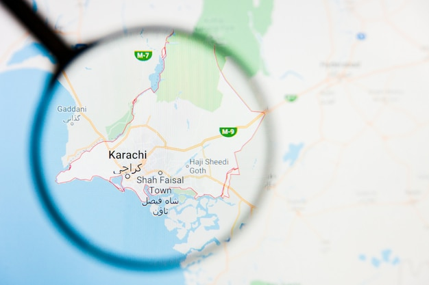 Karachi, pakistan stad visualisatie illustratief concept op het beeldscherm door vergrootglas