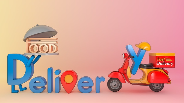 Karakter cartoon levering lettertype met scooter., concept van fast-food bezorgservice en online eten., 3d illustratie met object uitknippad.