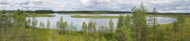 Karakteristiek landschap van de toendra, het meer en de vegetatie, fin