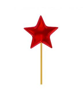 Karamelsnoepjes in de vorm van een vijfpuntige snoepjesster op een houten stok, rood.