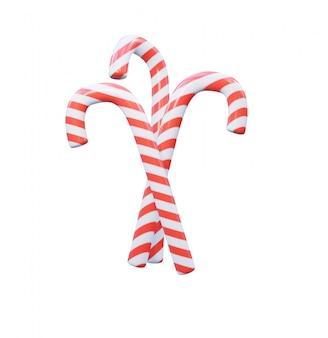 Karamelsnoepjes in de vorm van wandelstokken, witte en rode spiraal.