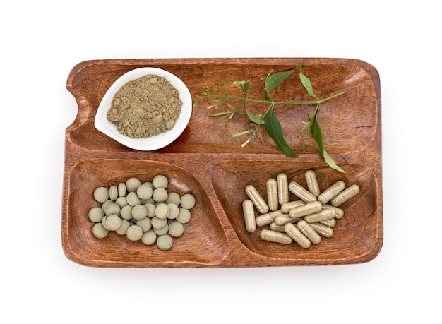 Kariyat of andrographis paniculata, tak groene bladeren, capsules, tablet en poeder geïsoleerd op wit