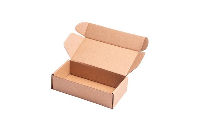 Karton, kartonnen brievenbus, koffer, bovenaanzicht, geïsoleerd