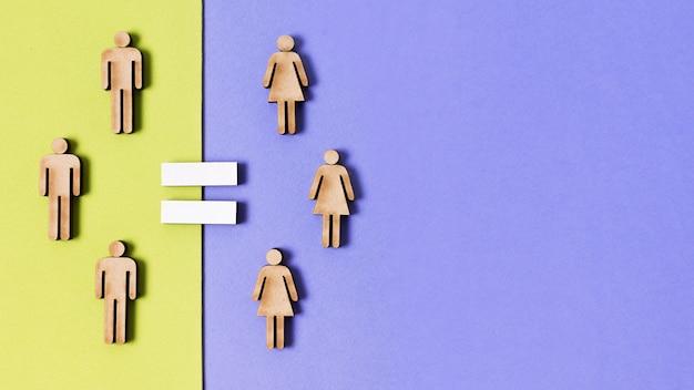 Karton mensen vrouwen en mannen gelijkheid en kopie ruimte