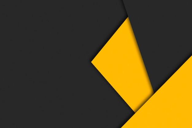 Kartonnen achtergrond met zwarte en gele geometrische compositie