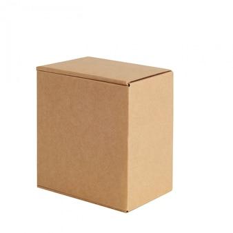 Kartonnen doos één. geïsoleerd op wit.