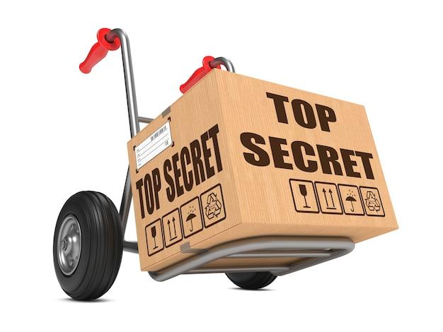 Kartonnen doos met top secret slogan op steekwagen geïsoleerd op wit.
