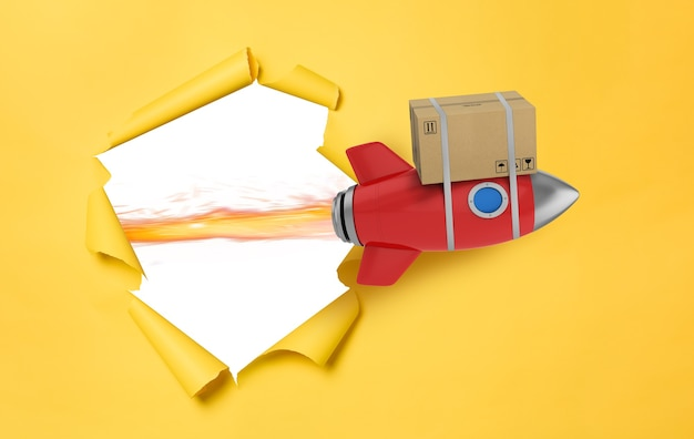 Kartonnen doos vliegt snel met raket. concept van uitdrukkelijke en prioritaire levering