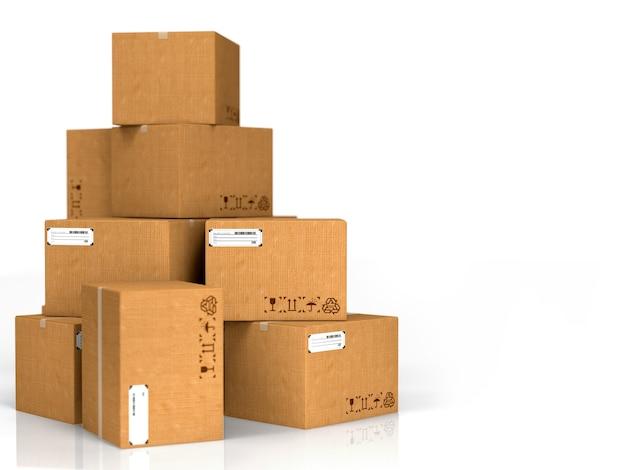 Kartonnen dozen geïsoleerd op een witte achtergrond.