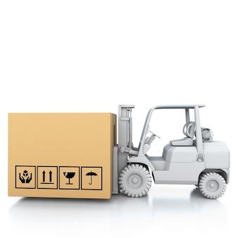 Kartonnen dozen op witte 3d illustratie