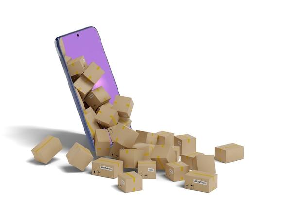 Kartonnen dozen steken uit het scherm van een mobiele telefoon. leveringsconcept.