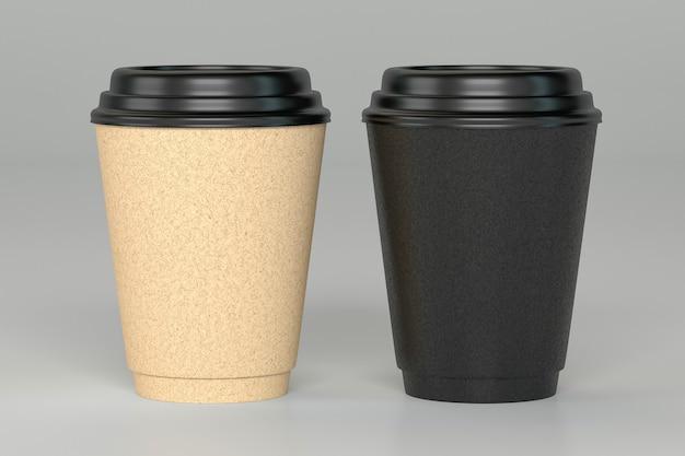 Kartonnen kopje koffie geïsoleerde mockup 3d render