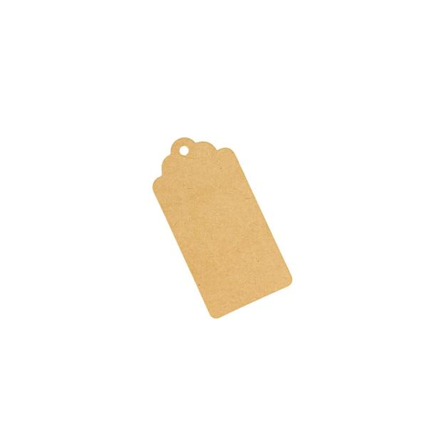 Kartonnen tag voor geschenkdoos met kopie ruimte geïsoleerd. bovenaanzicht.