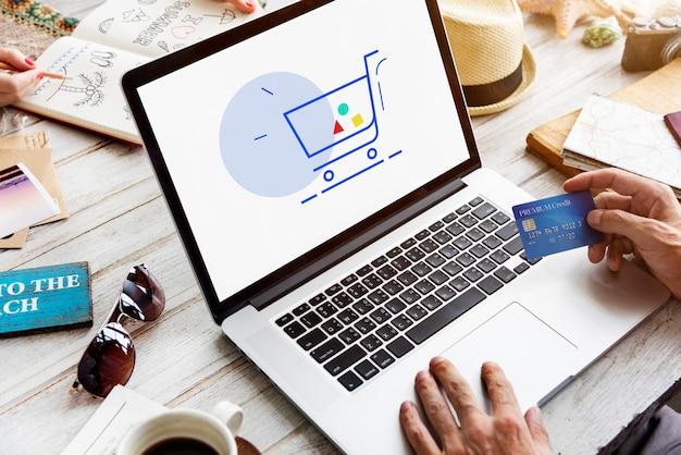 Kartrolley die online winkelt, tekenafbeelding weergeven