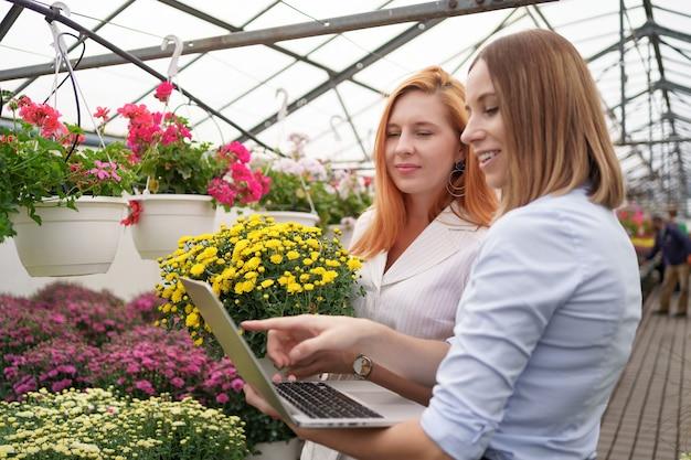 Kasseigenaar die bloemenopties voorstelt aan een potentiële klantendetailhandelaar die laptop gebruikt.