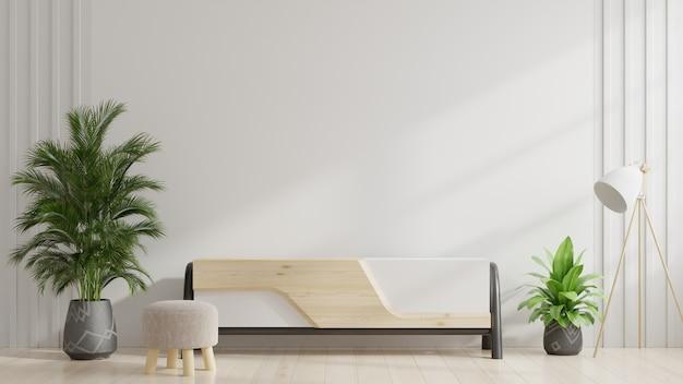 Kast en muur voor tv in de woonkamer, witte muren.