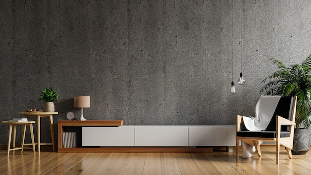 Kast tv in moderne woonkamer met fauteuil en plant