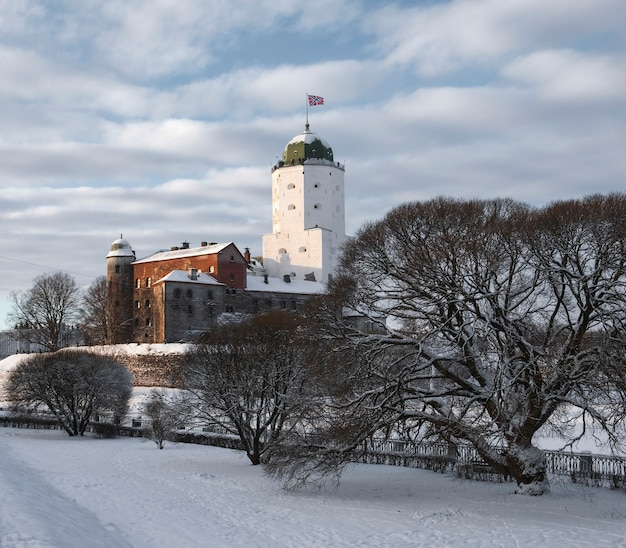 Kasteel in de stad vyborg in de winter